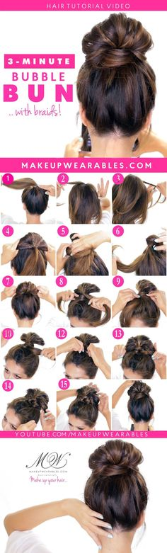 「作った扇状のお団子を二つに分け、その間から毛先を出す」というテク!扇状ではなく普通のお団子、特に緩いお団子の時使うとmessyなヘアにできる!(この髪型には興味ナシ)