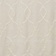 """Caroline in linen color; geometric tile pattern on linen blend fabric: scarf swags, curtain panels in standard and extra long 108"""" and 120"""" inch curtains, fabric by the yard for custom window treatments 