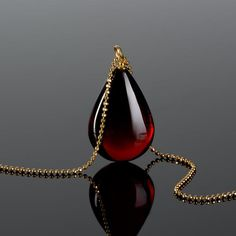 Deep red amber pendant teardrop amber pendant amber necklace for women unique gift for her Baltic amber jewelry cherry amber Good Luck Necklace, Evil Eye Necklace, Amber Necklace, Pendant Necklace, Necklace Set, Accesorios Casual, Baltic Amber Jewelry, Unique Gifts For Her, Beautiful Necklaces