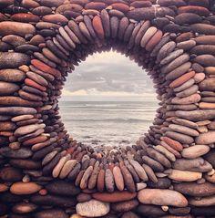 Porthole stone mosaic