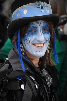 Border Morris dancer Witch Spring, Morris Dancing, Beltane, Folk Music, Face Hair, Green Man, British Isles, Vintage Images, Riding Helmets