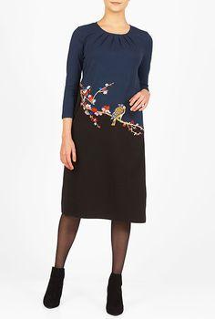I <3 this Bird embellished cotton knit shift dress from eShakti