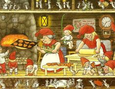 Scandinavian Nisse Baking for the Christmas Holiday. Illustration Noel, Christmas Illustration, Illustrations, Scandinavian Gnomes, Scandinavian Christmas, Gnome Pictures, David The Gnome, Creation Photo, Elves And Fairies