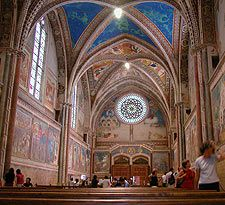 """Basilica of St. Francis of Assisi interior - Assisi is in neighboring Umbria, meaning """"shadow"""" as it's an oft overlooked gem on par with Tuscany in beauty. Not that every yuppie doesn't already know that this day and age."""