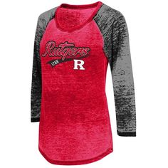 Juniors' Campus Heritage Rutgers Scarlet Knights Ace Raglan Tee ($26) ❤ liked on Polyvore featuring tops, t-shirts, red other, red shirt, raglan sleeve t shirts, pattern t shirt, tee-shirt and graphic t shirts
