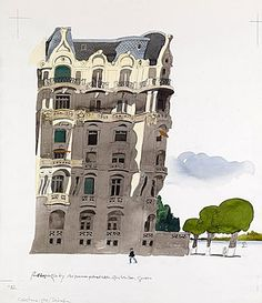 PAUL HOGARTH (1917 - 2001) Art Nouveau Apartment Building, Geneva Watercolour over an underdrawing in pencil, on thick white paper.