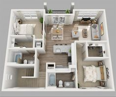 Want ideas for a three bedroom layout? Here are 3D floor plans for you.