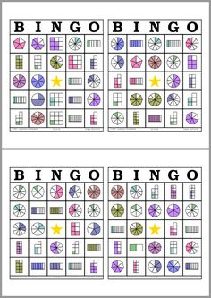 Juego de Bingo Matemático. 50 Tarjetas de Bingo para Imprimir. Bingo de Fracciones Gratis. Practica las Fracciones equivalentes con estas actividades divertidas del juego clásico de Bingo. Lotería de Fracciones para Imprimir. Math Bingo, Math Games, Fraction Games, Math School, Primary Maths, Third Grade Math, Math Fractions, Math For Kids, Elementary Math