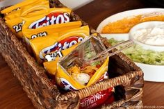 Another pinner said: Walking Tacos...we have these every camping trip without fail. A bag of fritos, toppings of your choice and ground beef. Bonus: No dishes to wash.