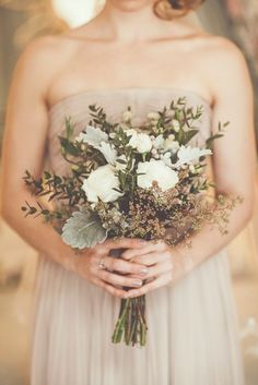 dried grasses, wheat, and dusty miller for a rustic fall bridesmaids bouquet