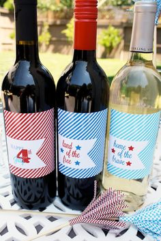 Printable 4th of July Wine Label Set