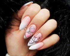 Nail art Christmas - the festive spirit on the nails. Over 70 creative ideas and tutorials - My Nails Cute Nail Art Designs, Heart Nail Designs, Valentine Nail Art, Valentines Design, Nail Art Coeur, Love Nails, Pretty Nails, Heart Nails, Nail Arts