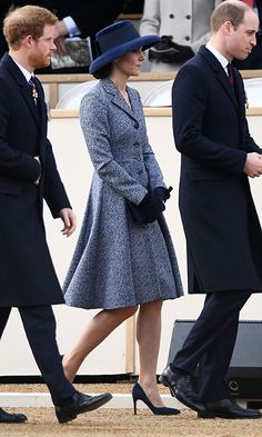 Joining brother-in-law Prince Harry, left, and husband Prince William at a Service of Commemoration and Drumhead Service on Horse Guards Parade in central London, Kate Middleton chose a wide-brimmed hat to go along with her Michael Kors coat. Photo: Getty Images