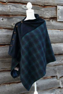 This gorgeous Harris tweed is a blend of blue and green and has been complimented with luxurious navy velvet. Fully lined with lavish satin and embellished with quality metalic buttons, this poncho is both stylish and practical. Capes & Ponchos, Wool Poncho, Harris Tweed, Mode Inspiration, Shawls And Wraps, Sewing Clothes, Refashion, Dressmaking, Autumn Winter Fashion