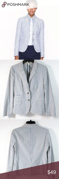 "J. Crew Cotton Seersucker Blazer size 6 J. Crew blue and white seersucker 100% cotton blazer. Size 6. Shoulder: 14"" Sleeve: 22.5"" Chest: 34"" Length: 22"". Overall great condition with no major issues, smoke free home. Enjoy! J. Crew Jackets & Coats Blazers"