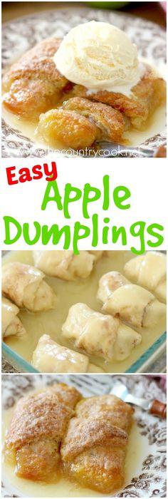Crescent Roll Apple Dumplings recipe from The Country Cook apple recipes Crescent Roll Apple Dumplings, Easy Apple Dumplings, Apple Dumpling Recipe, Köstliche Desserts, Delicious Desserts, Dessert Recipes, Yummy Food, Easy Apple Desserts, Plated Desserts