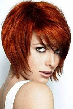 Short hairstyle with Copper Red color can be done beautifully with Aloxxi Color.