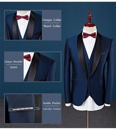 Shawl Collar Slim Fit Tuxedo Suit - Tuxedo - Ideas of Tuxedo - Gender: MenItem Type: SuitsFront Style: FlatBrand Name: Fire KirinModel Number: Men suits Closure Type: Zipper FlyMaterial: ViscoseCottonPolyesterClo Blue Tuxedo Jacket, Tuxedo Suit, Grey Tux, Black Suit Wedding, Wedding Suits, Tuxedo Wedding, Wedding Dresses, Mens Fashion Suits, Mens Suits