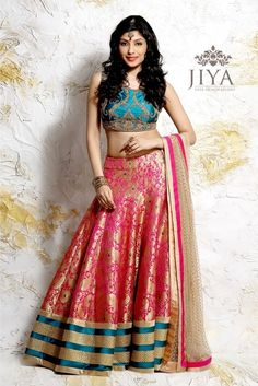 turquoise silk blouse, hot pink and gold brocade lehenga, turquoise and gold border, cream and hot pink dupatta