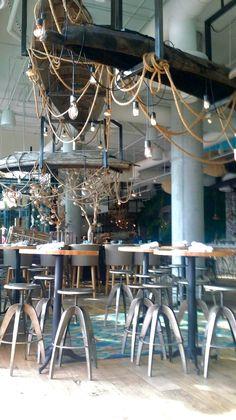 Herringbone SM. Nautical restaurant ambiance.