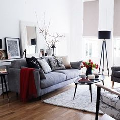 Need a little living room inspiration? Do remember that living room decorating doesn't have to be grand (we're talking to you, small living room owners).A simple feature wall, new living room lighting or […] Living Room White, Beautiful Living Rooms, Living Room Paint, Cozy Living Rooms, Living Room Grey, Living Room Sofa, Living Room Interior, Home And Living, Living Spaces