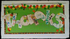 Agradecidos por tanto que tenemos.  Letras con dibujos hechos por cada niño,diciendo por lo que dan gracias. PKB 2015
