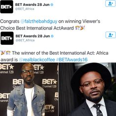 Falz bags his first BET award as S. Africas DJ Black Coffee beats Wizkid and Yemi Alade to win the Best International Act: Africa award