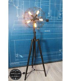 Lampe sur trépied style ventilateur vintage #Luminaire #Edison #Ampoule #filament #vintage #rétro #déco #design #lampe #Ventilateur #trépied #vintage #industriel