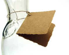 Folded kraft tags, handmade paper, recycled, deckle edge, 2.5 x 2.5 inch, set of 10 via Etsy