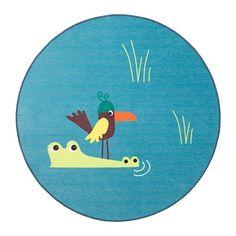 DJUNGELSKOG Vloerkleed, glad geweven, vogel, blauw vogel/blauw 100 cm