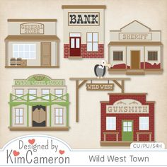 Wild West Town Layered PSD Templates by Kim Cameron ; Commercial Use for Digital Scrapbooking, #CUDigitals