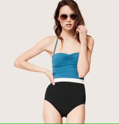 LOFT Beach Colorblock Bandeau One Piece Swimsuit | Loft