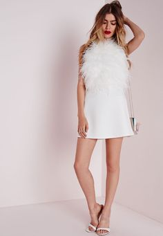 Missguided - High Neck Feather Front Crop Top White