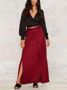 Wine Slit Side Knitted Long Skirt | Irisie
