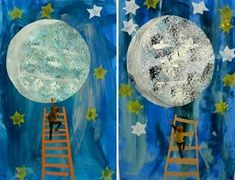 lune_eric_carle: Love you as high as I can reach or to the moon and back Eric Carle, Kids Crafts, Space Crafts, Collaborative Art Projects, School Art Projects, Kindergarten Art, Preschool Art, Classe D'art, Moon Crafts