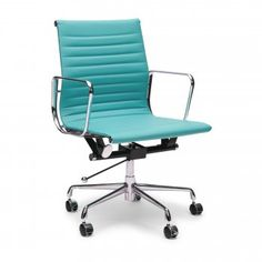 Eames Turquoise Short Back Ribbed Style Office Chair - Eames from Cult Furniture UK