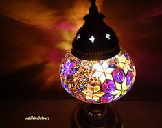 Colourful Turkish handmade glass mosaic table lamp, bedroom night lamp, bedside lamp, night light. by ALIFEINCOLOURS on Etsy