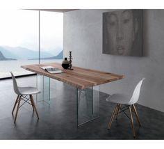 table tronc darbre et pieds en verre amazone 6832