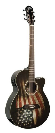 Oscar Schmidt OG10CEFLAG Cutaway Acoustic Electric Guitar, American Flag