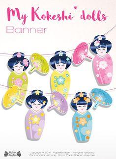Kokeshi dolls banner Printable  Geishas japanese by PapierBonbon