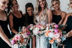 Bridal bouquet and bridesmaid bouquet, of native flowers and wildflowers of protea, roses, eucalyptus, peony, in pink and orange at Manly, Milestone Events by Sydney Wedding Florist, Erichsen Botanica  Photography by Lucie Weddings Bridesmaid Bouquet, Bridesmaid Dresses, Wedding Dresses, Sydney Wedding, Wildflowers, Peony, Wedding Flowers, Roses, Events