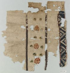 Fragment Date: 5th–6th century Geography: Egypt Culture: Coptic Medium: Wool, linen; plain weave, tapestry weave Dimensions: 9 15/16 in. high 9 1/16 in. wide (25.2 cm high 23 cm wide) Classification: Textiles
