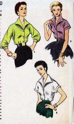 1950s Misses Rockabilly Blouse Vintage Sewing by MissBettysAttic, $12.00