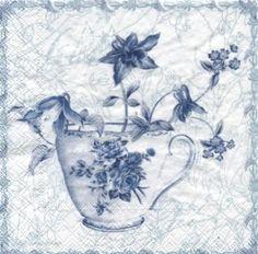 20 napkins - 25 x 25 cm FLOWER CUP white blue                   ,  cocktail napkins