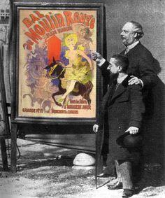 Foto de Jules Chéret mostrando seu cartaz a Toulouse-Lautrec.