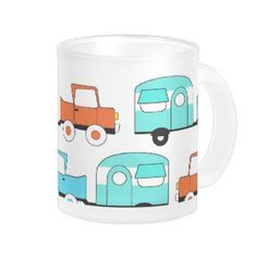 Retro Camping Trailer Turquoise Orange Vintage Car Coffee Mugs
