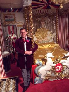 Andrew Ginger next to the amazing recreation his company, Beaudesert Ltd, has made of Beaton's Circus Bed