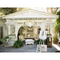 Backyard Cottage, Backyard Retreat, Backyard Patio, Cottage Garden Sheds, Backyard Greenhouse, Garden Houses, Lake Cottage, Pool Houses, Backyard Ideas