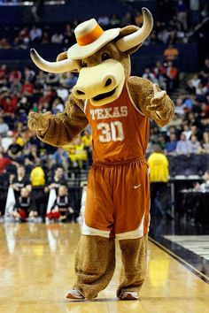 Texas mascot Hook'em gets the crowd fired up during UT's first round game vs. Cincinnati