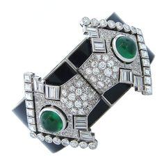 1930's Diamond Emerald Detachable Clips on a Black Enamel Bangle  France